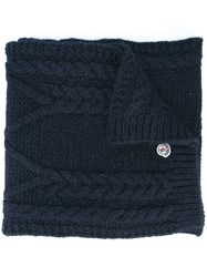 Moncler Cable Knit Scarf Blue