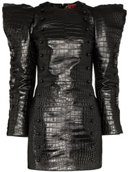 Ronald Van Der Kemp Snake Print Mini Dress Black