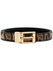 Dolce And Gabbana Leopard Print Belt Black