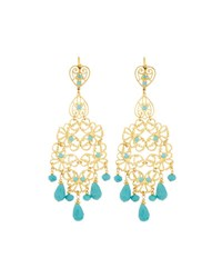 Jose And Maria Barrera Golden Filigree Chandelier Earrings W Turquoise Hue Beads No Color