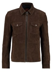 Boss Orange Juke Leather Jacket Brown