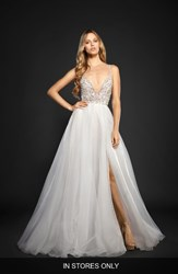 Hayley Paige Women's Kenny Organza A Line Gown