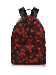 Givenchy Flower Print Nylon Backpack Red Multi