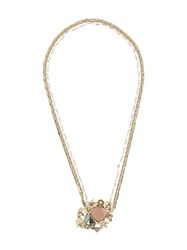 Red Valentino Floral Motif Necklace Metallic