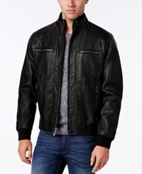Calvin Klein Men's Faux Leather Stand Collar Bomber Jacket Black