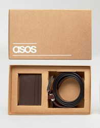 Asos Gift Set With Leather Belt And Cardholder Brown