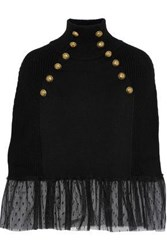 Red Valentino Point D'esprit Paneled Ribbed Wool Turtleneck Poncho Black