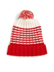 Gucci Knit Wool Pom Pom Hat Red White Orange Black