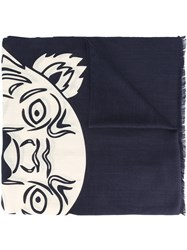 Kenzo 'Tiger Face' Scarf Blue