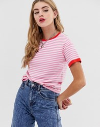 Noisy May Stripe Sweatshirt With Contrast Ringer Pink