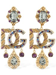 Dolce And Gabbana Multi Crystals Barocco Clip On Earrings Gold