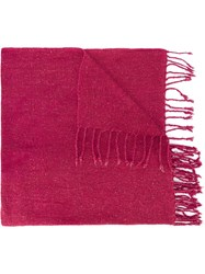 Al Duca D'aosta 1902 Fringed Knitted Scarf Pink And Purple