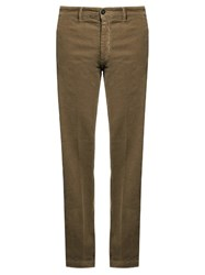 Massimo Alba Mid Rise Slim Leg Stretch Cotton Trousers Beige