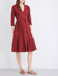Max Mara Miretta Reversible Cotton Blend Dress Red Pink