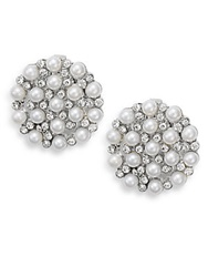 Ak Anne Klein Faux Pearl And White Stone Disc Clip Earrings Pearl Silver