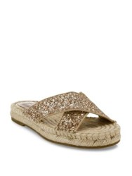 Joie Ianna Glitter And Suede Espadrille Slide Sandals Gravel