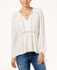 Jessica Simpson Crocheted Tie Front Peasant Top White