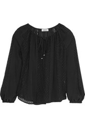 L'agence Pearl Fil Coupe Silk Blend Blouse Black