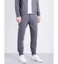 The Kooples Biker Tapered Cotton Jersey Jogging Bottoms Gry12