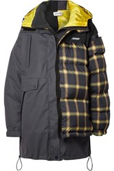 Monse Layered Paneled Checked Shell And Ripstop Down Coat Gray