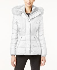 Jones New York Faux Fur Trim Hooded Quilted Puffer Coat White