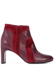 Alberto Fermani Side Zipped Ankle Boots Red