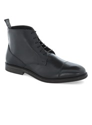 Topman Black Leather Lace Toecap Boots