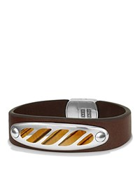 David Yurman Graphic Cable Leather Id Bracelet In Brown With Tiger's Eye Brown Silver