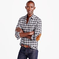 J.Crew Cotton Wool Elbow Patch Shirt In Heather Grey Plaid