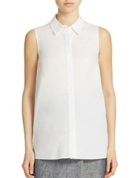 Lord And Taylor Petite Button Back Blouse White