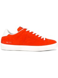 Leather Crown Classic Lace Up Sneakers Red