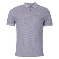 Barbour Cross Print Polo Top Grey Marl