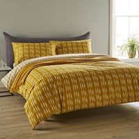Christy Ikat Stripe Duvet Set Ochre Yellow