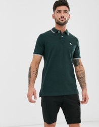 Abercrombie And Fitch Icon Logo Tipped Pique Polo In Green