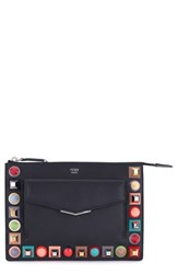 Fendi Women's Mini Studded Leather Zip Pouch