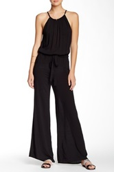 Bobeau Halter Wide Leg Jumpsuit Black