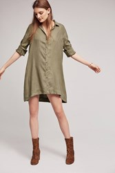 Anthropologie Farryn Laced Back Shirtdress Moss