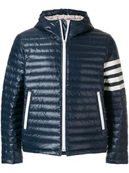 Thom Browne 4 Bar Stripe Satin Finish Quilted Down Blue