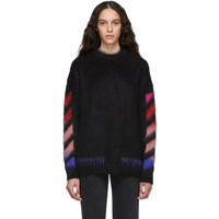 Off White Black Brushed Mohair Diag Sweater