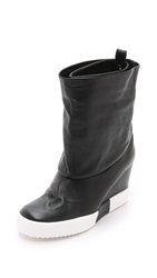 Giuseppe Zanotti Leather Sneaker Booties Black