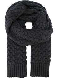Dolce And Gabbana Chunky Cable Knit Scarf Grey