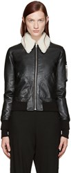 Maison Martin Margiela Black Shearling Collar Bomber Jacket