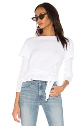 Monrow Double Layer Front Tie Top White
