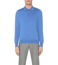 Canali Knitted Cotton Polo Jumper Royal Blue