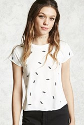 Forever 21 Feather Graphic Tee Ivory Black