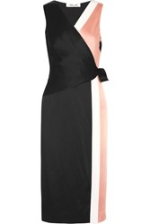 Diane Von Furstenberg Color Block Crepe De Chine Wrap Dress Pink