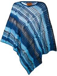 Missoni Zig Zag Crochet Knit Poncho Women Cotton Viscose One Size Blue