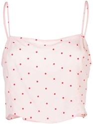 Fleur Du Mal Dot Embroidered Straight Neck Cami Pink