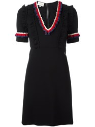 Gucci Web Trim Ruffled Dress Black