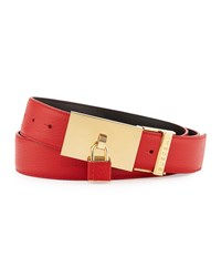 Buscemi Padlock Buckle Leather Belt Red